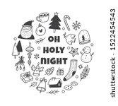 christmas cute doodle set  hand ... | Shutterstock .eps vector #1522454543