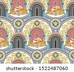 seamless vector greek keyed ... | Shutterstock .eps vector #1522487060