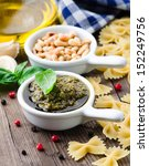 closeup of freshly made pesto  | Shutterstock . vector #152249756