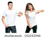 young man and girl in white t... | Shutterstock . vector #152252540