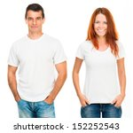 young man and girl in white t... | Shutterstock . vector #152252543