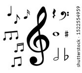 set of musical notes and... | Shutterstock .eps vector #1522554959