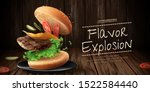 delicious hamburger ads with... | Shutterstock .eps vector #1522584440