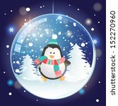 snow globe with pinguin.... | Shutterstock .eps vector #152270960