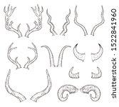 hand drawn animal horn set  ... | Shutterstock .eps vector #1522841960