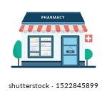cartoon pharmacy building... | Shutterstock .eps vector #1522845899