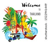 Thailand Travel Icon  Set Of...