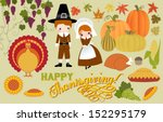 thanksgiving symbols and icons  ... | Shutterstock .eps vector #152295179