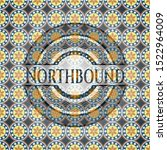 Northbound arabesque style emblem. arabic decoration.