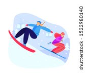 women snowboarding and skiing...