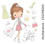 shopping girl  | Shutterstock .eps vector #152298263
