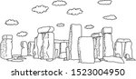 Stonehenge With Clouds Vector...
