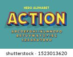 trendy 3d comical font design ... | Shutterstock .eps vector #1523013620