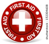 """stylish red """"first aid"""" badge 