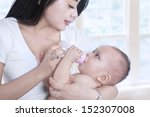 close up of a mother feeding... | Shutterstock . vector #152307008
