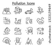 pollution icon set in thin line ... | Shutterstock .eps vector #1523159849