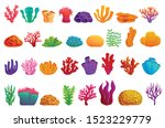 coral icons set. cartoon set of ... | Shutterstock .eps vector #1523229779