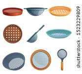 Sieve icons set. Cartoon set of sieve vector icons for web design