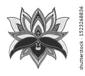 filigree lotus flower  black... | Shutterstock .eps vector #1523268836