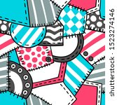 patchwork and buttons pattern... | Shutterstock .eps vector #1523274146