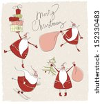 santa claus christmas cards  | Shutterstock .eps vector #152330483