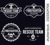vintage set of firefighter... | Shutterstock .eps vector #1523329706