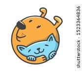 Cartoon Dog And Cat Hugging...