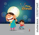 diwali  deepavali or dipavali... | Shutterstock .eps vector #1523371469