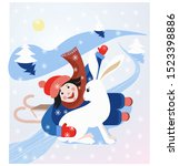 Stock photo ilustration winter fun with sled and white hare 1523398886