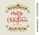 merry christmas card in vintage ... | Shutterstock .eps vector #1523415566