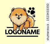 cute pomeranian logo  cartoon... | Shutterstock .eps vector #1523433350
