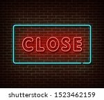neon closed sign vector... | Shutterstock .eps vector #1523462159