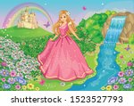 a beautiful princess in a pink... | Shutterstock .eps vector #1523527793