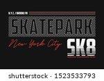 new york  brooklyn skatepark... | Shutterstock .eps vector #1523533793