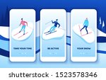 skiing mobile app template set  ...