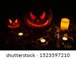 two halloween pumpkins with...   Shutterstock . vector #1523597210