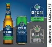 vector blue and green beer... | Shutterstock .eps vector #1523612573