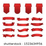 red ribbons  label set  shiny...   Shutterstock .eps vector #1523634956