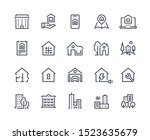 house line icons. town houses... | Shutterstock .eps vector #1523635679