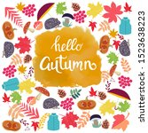 cute background with autumn... | Shutterstock .eps vector #1523638223
