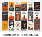 vector halloween greeting cards ... | Shutterstock .eps vector #1523687756