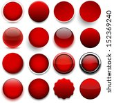 Set Of Blank Red Round Buttons...