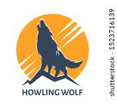 emblem of howling wolf against... | Shutterstock .eps vector #1523716139