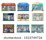 vector set of shop buildings.... | Shutterstock .eps vector #1523744726