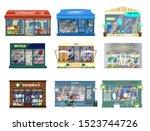 vector set of shop buildings.... | Shutterstock .eps vector #1523744726