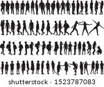 large collection of silhouettes ... | Shutterstock .eps vector #1523787083