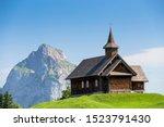 Stoos-Kirche church in front of Großer Mythen mountain, Stoos, Morschach, canton of Schwyz, Switzerland