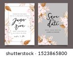 autumn and fall flower wedding... | Shutterstock .eps vector #1523865800