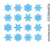 Blue Snowflakes Set Isolated O...