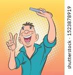 men are taking selfies on...   Shutterstock .eps vector #1523878919